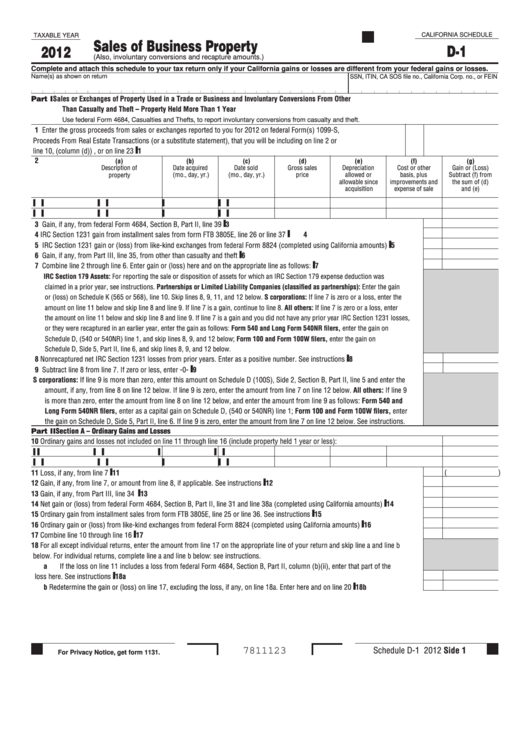 Fillable California Schedule D-1 - Sales Of Business Property - 2012 Printable pdf