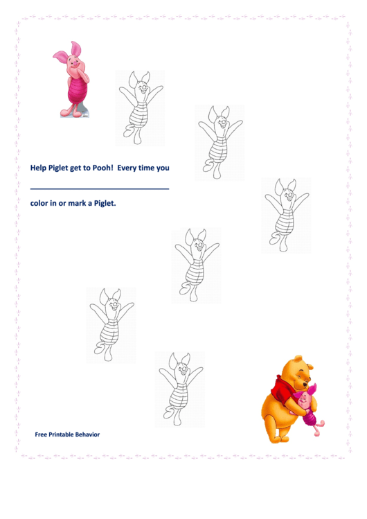 Help Piglet Get To Pooh Color Behavior Chart