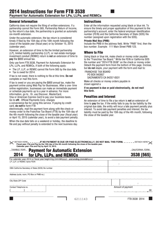 Form 3538 (565) - California Payment For Automatic Extension For Lps, Llps, And Remics - 2014 Printable pdf
