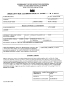 Form Otr-309 - Application For Exemption From D.c. Sales Tax On Parking