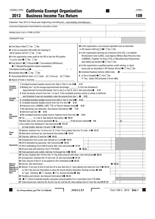 Fillable Form 109 - California Exempt Organization Business Income Tax Return - 2013 Printable pdf