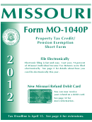 Instructions For Form Mo-1040p - Property Tax Credit/ Pension Exemption Short Form - 2012