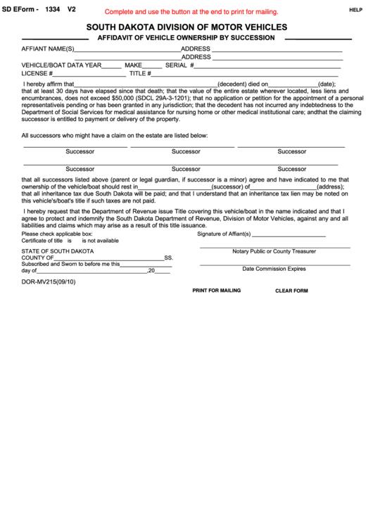 Fillable Sd Eform-1334 V2 - South Dakota Division Of Motor Vehicles Printable pdf