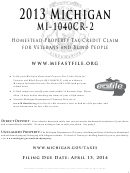 Form Mi-1040cr2 - Michigan Homestead Property Tax Credit Claim For Veterans And Blind People Instructions - 2013