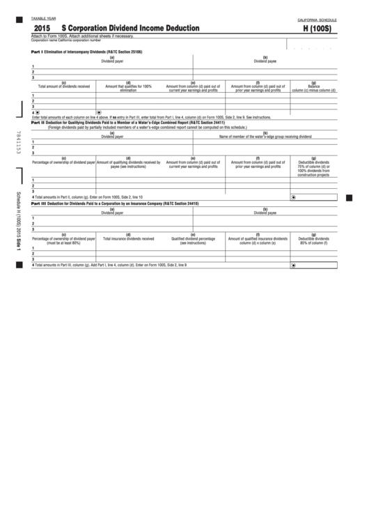 Fillable California Schedule H (100s) - California S Corporation Dividend Income Deduction - 2015 Printable pdf