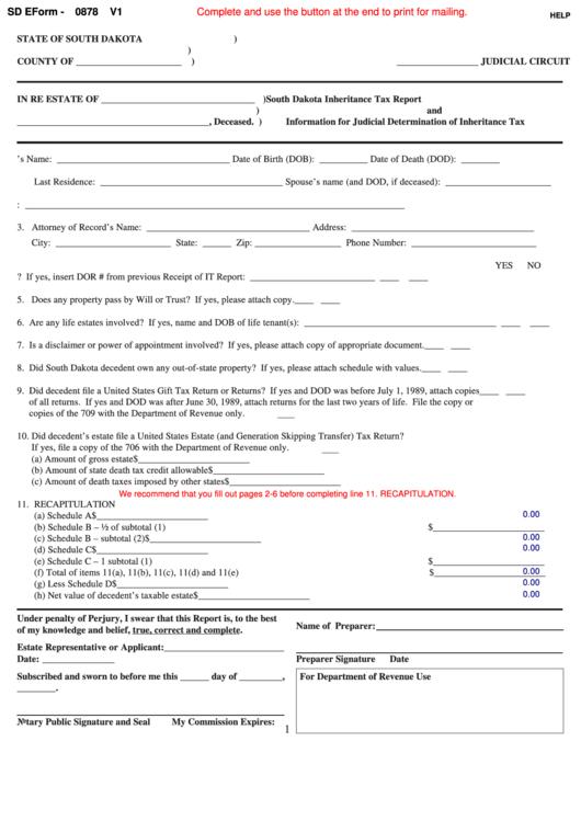 Fillable Sd Eform-0878 V1 - South Dakota Inheritance/estate Tax Printable pdf