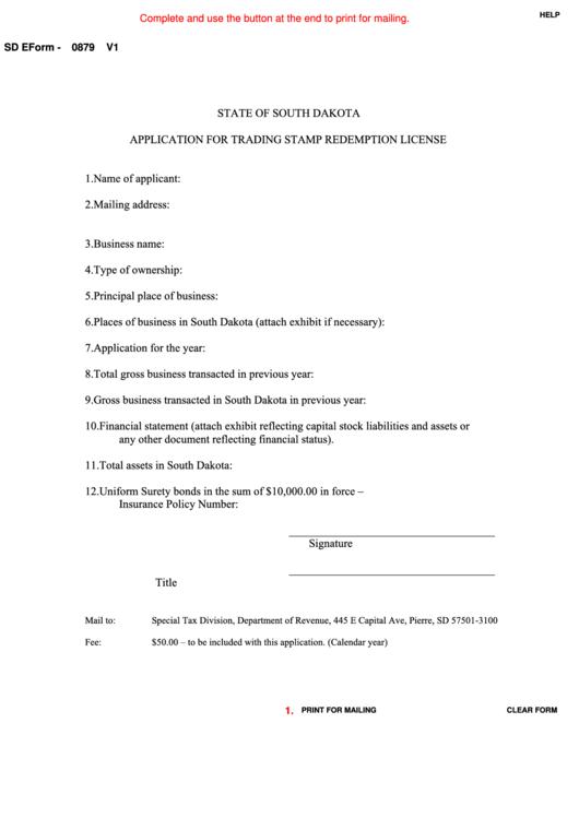 Fillable Sd Eform-0879 V1 - Application For Trading Stamp Redemption License Printable pdf