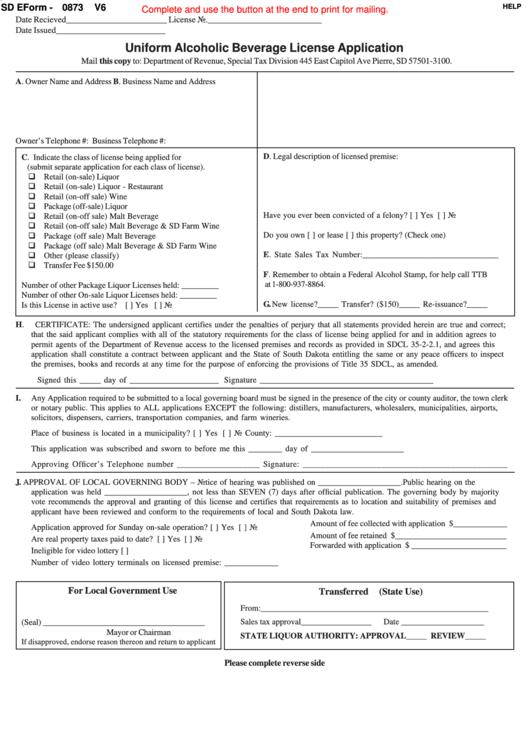 Fillable Sd Eform-0873 V6 - Uniform Alcoholic Beverage License Application Printable pdf
