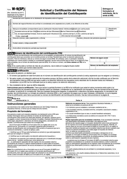 Fillable Form W-9(Sp) - Solicitud Y Certificacion Del Numero De Identificacion Del Contribuyente - 2011 Printable pdf