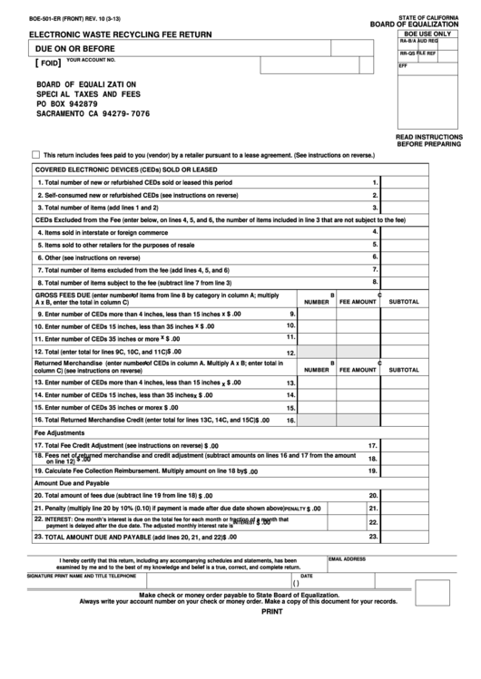 Fillable Form Boe-501-Er - Electronic Waste Recycling Fee Return Printable pdf