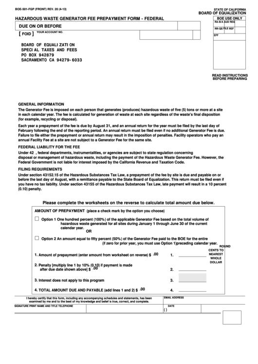 Fillable Form Boe-501-Fgp - Hazardous Waste Generator Fee Prepayment Form - Federal Printable pdf