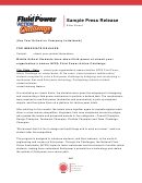 Sample Press Release - Nfpa Fluid Power Action Challenge
