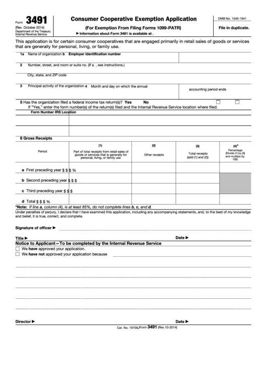 Fillable Form 3491 - Consumer Cooperative Exemption Application Printable pdf