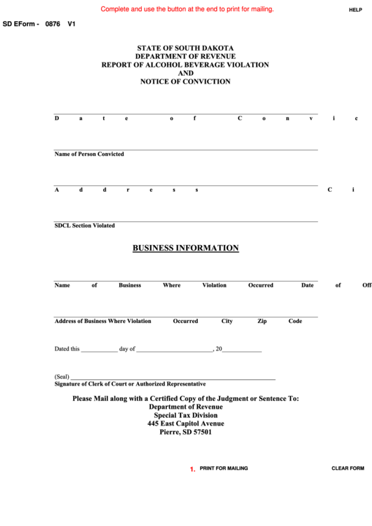 Fillable Sd Eform-0876 V1 - Report Of Alcohol Beverage Violation And Notice Of Conviction Printable pdf