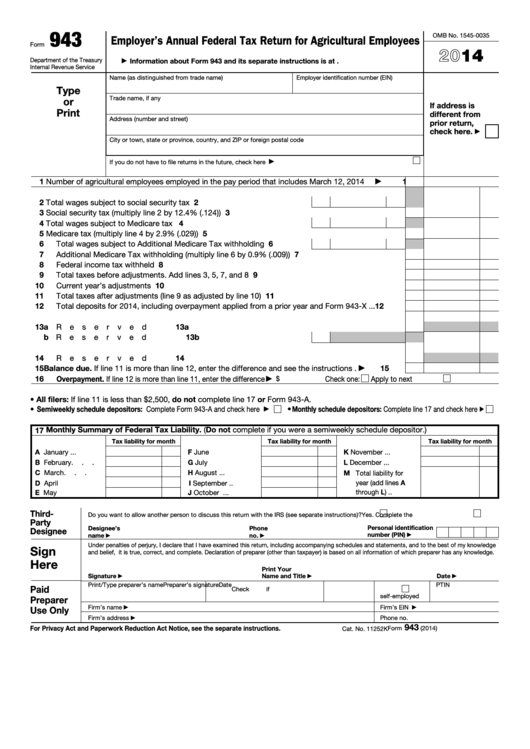 Fillable Form 943 - Employer