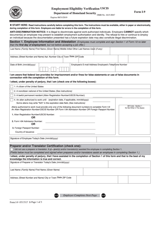 Form I-9 - Employment Eligibility Verification