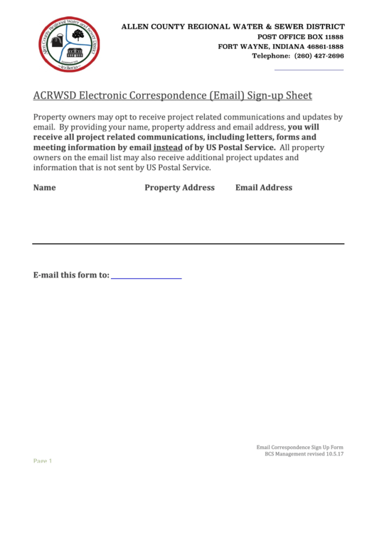 Electronic Correspondence (email) Sign-up Sheet