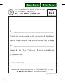 Form 838 - Amateur Radio Statement