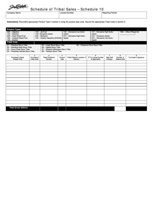 Schedule 10 - Schedule Of Tribal Sales Printable pdf