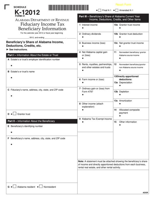 Form 41 - Schedule K-1 - Fiduciary Income Tax Beneficiary Information - 2012