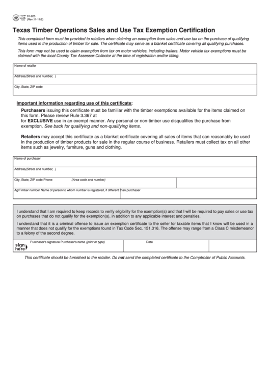 Fillable Form 01-925 - Texas Timber Operations Sales And Use Tax ...
