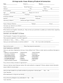 Chiropractic Case History/patient Information Form