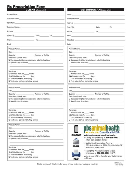 Rx Prescription Form