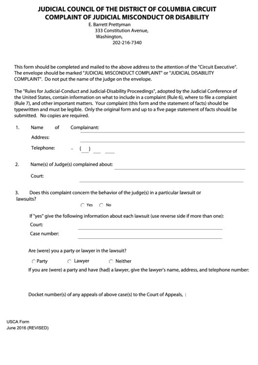 Fillable Usca Form - Complaint Of Judicial Misconduct Or Disability