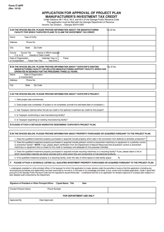 Form It-App - Application For Approval Of Project Plan Manufacturer