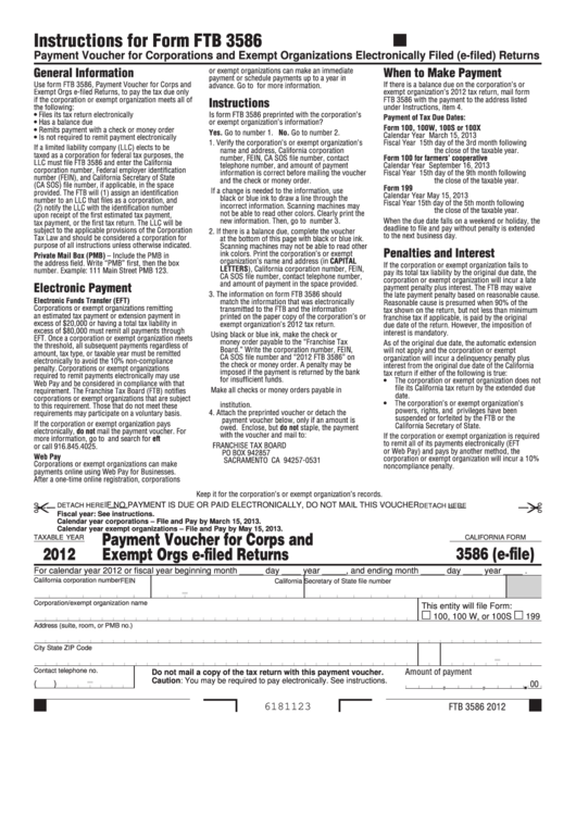 Fillable California Form 3586 (E-File) - Payment Voucher For Corps And Exempt Orgs E-Filed Returns - 2012 Printable pdf