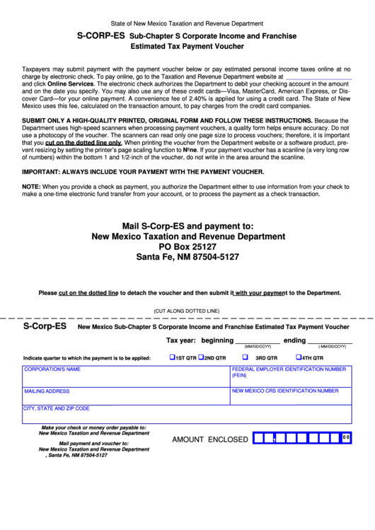 new mexico state tax payment voucher