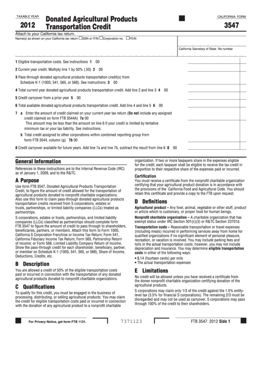 Fillable California Form 3547 - Donated Agricultural Products Transportation Credit - 2012 Printable pdf