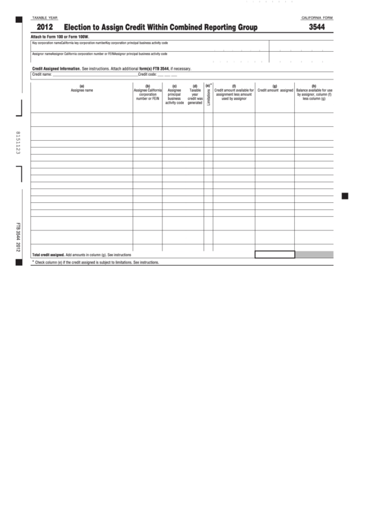 Fillable California Form 3544 - Election To Assign Credit Within Combined Reporting Group - 2012 Printable pdf