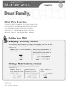 Letter To Family - Multiplying And Dividing Decimals