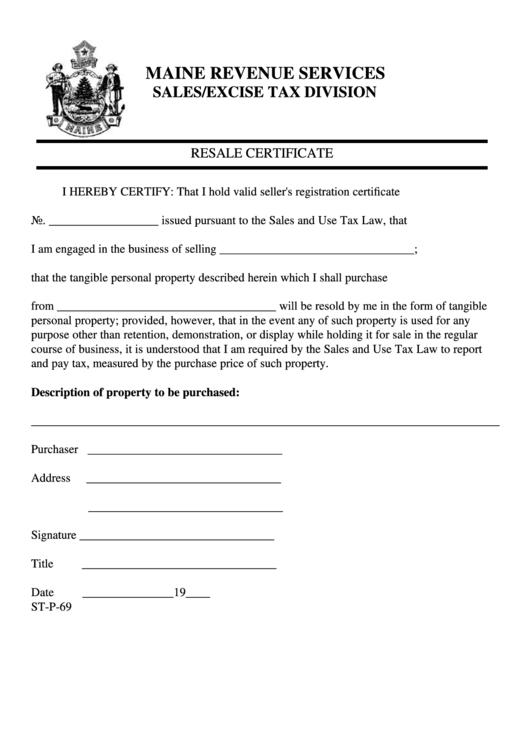 Form St-P-69 - Resale Certificate Maine Revenue Services ...
