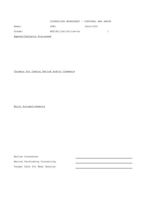 Fillable Counseling Worksheet Corporal And Above