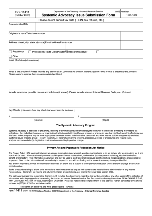 Fillable Form 14411 - Systemic Advocacy Issue Submission Form Printable pdf