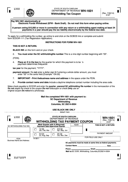 Form Wh-1601 - Withholding Tax Coupon Printable pdf