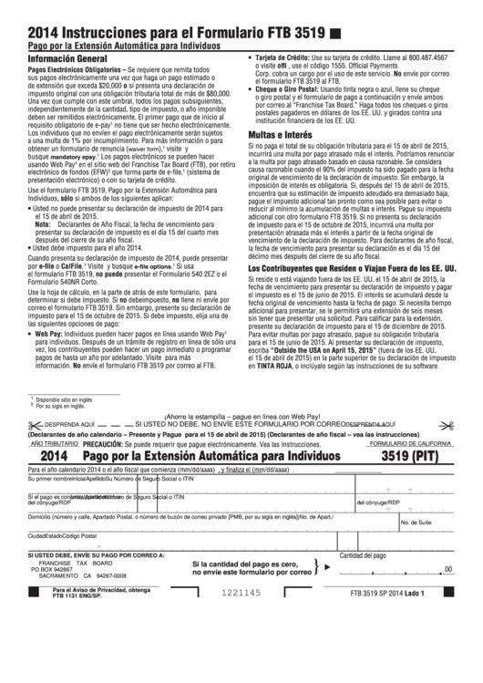 Fillable Formulario Ftb 3519 - Pago Por La Extension Automatica Para Individuos - 2014 Printable pdf