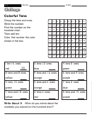 Colorful Tens - Challenge Worksheet With Answer Key