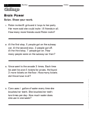Brain Power - Challenge Worksheet With Answer Key