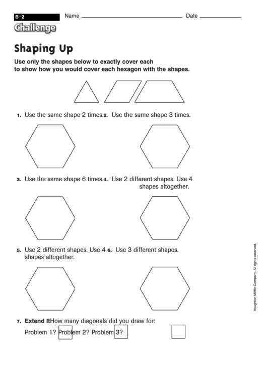 Shaping Up - Challenge Worksheet With Answer Key printable ...