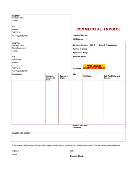 Commercial Invoice Template Printable pdf
