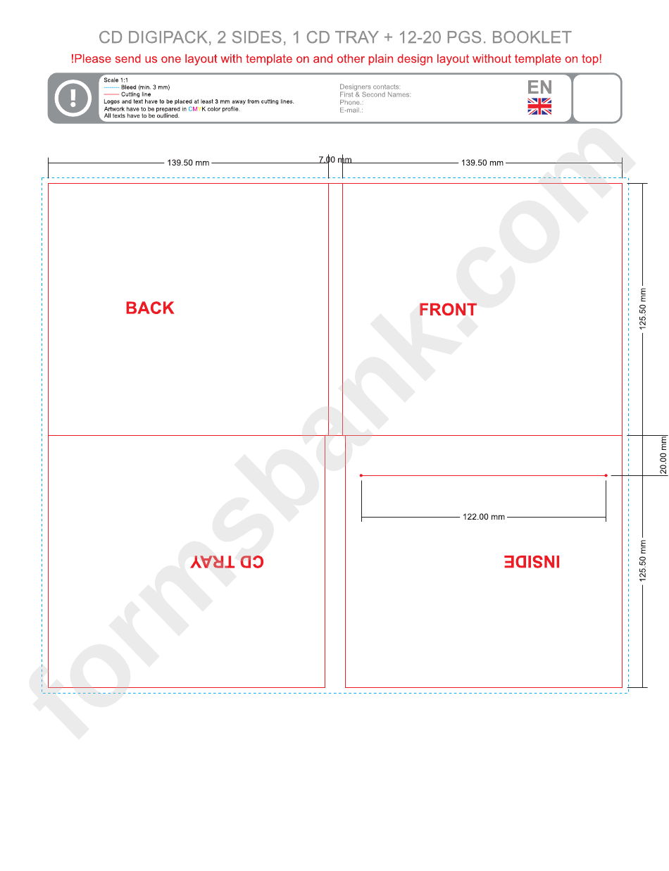 Cd Digipack, 2 Sides, 1 Cd Tray & 12-20 Pgs Booklet Template ...