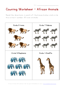 African Animals Counting Worksheet