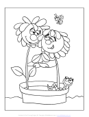 Flowers Valentine's Day Coloring Sheet