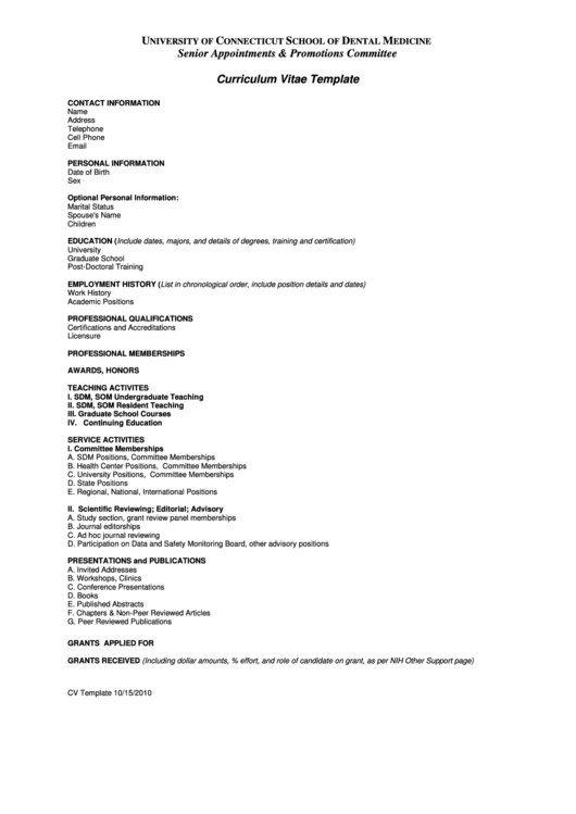 Curriculum Vitae Template Printable pdf