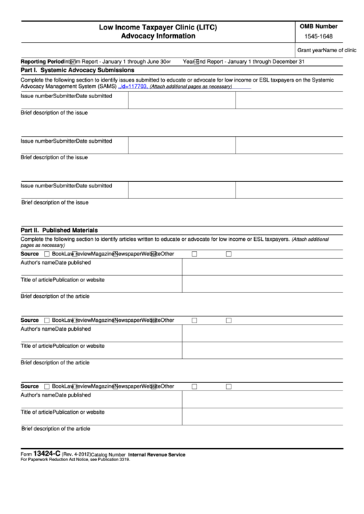 Fillable Form 13424-C - Low Income Taxpayer Clinic (Litc) Advocacy Information Printable pdf