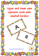 Upper And Lower Case Alphabet Cards With Seashell Borders