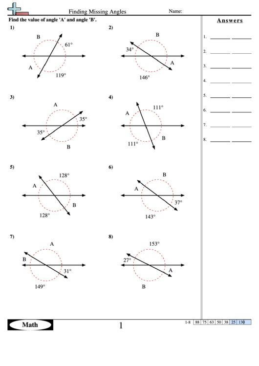 finding missing angles geometry worksheet with answers printable pdf download. Black Bedroom Furniture Sets. Home Design Ideas